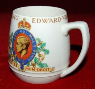 Woods Ivory Ware Coronation Mug King Edward VIII 1937 Reg 95$ Made in
