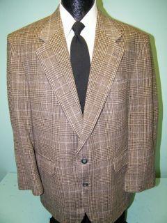 Plaid Jacket Gray Tan Blue Sport Coat Wool Tweed Blazer 42 R
