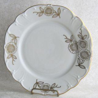 Edelstein Gold Floral Salad Dessert Plate Fine China Scallop Rim