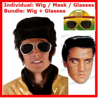 Licensed Elvis Card Mask Rock Star Wig Gold Glasses 60s 70s Available