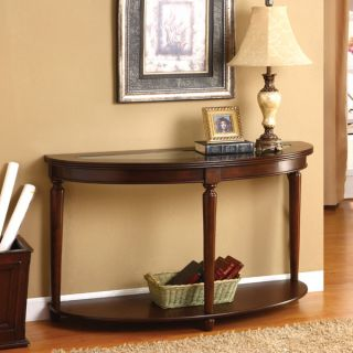 Elisha Dark Cherry Finish English Style Beveled Glass Top Console