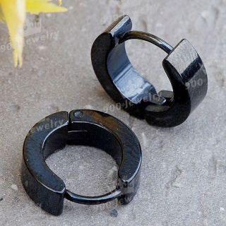 Stainless Steel Black Plated Hoop Earrings Stud Plug Mens Ear Jewelry