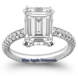 Solitaire Emerald Cut w Pave Round Diamond Ring GIA 18K