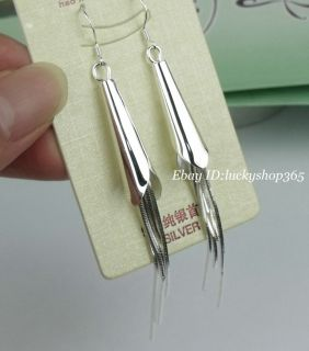 Elegant white gold plated Sterling Silver Dangle Drop Earring