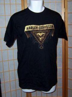 Harley Davidson Sz M Black Yeagers Sedalia Missouri MO T Tee Shirt