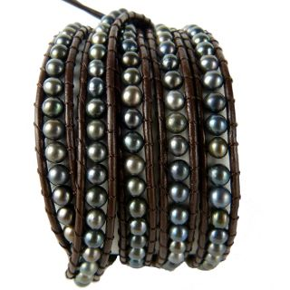 Chan Luu Tahitian Pearl Brown Leather Wrap Bracelet
