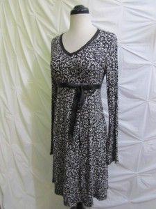 Ellen Tracy Black White Ruched Damask Sheath Jersey Knit Dress V Neck