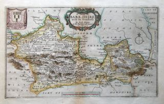 Berkshire Richard Blome Original Hand Coloured Antique Map C1680