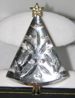 Super RARE Eisenberg Vintage Conical Cone Crystal Christmas Tree Pin