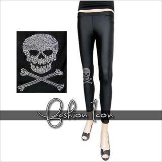 Bullet Skull Knee Emo Goth Sexy Punk Rock Clubbing Spandex Leggings