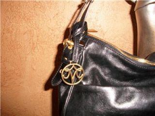 Johnston Murphy Black Leather Zip Bag Tote Satchell Shoulder Bag Purse