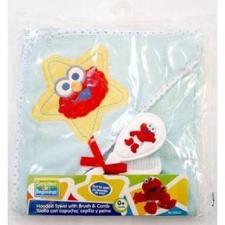 Adorable Sesame Street Elmo Bath Set Hooded Towel with Brush Comb