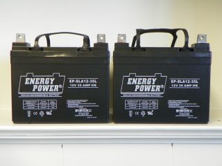 TWO Brand New Energy Power 12 volt, 35 amp hour Batteries for