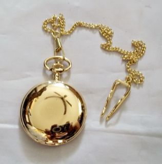 Mens Pocket Watch Gold Plated Smooth w Chain Antiqued Style Quartz