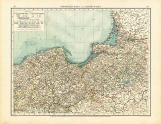 Antique Map GERMANY WEST AND EAST PRUSSIA POLAND Andree 1904