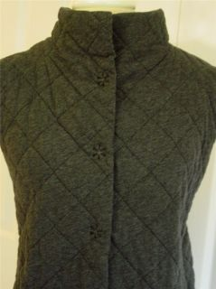 Eileen Fisher Dark Gray Cotton Sleeveless Quilted Snap Button Down