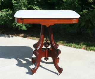 Eastlake Victorian Carved Walnut Marble Top Parlor Lamp Table C1875