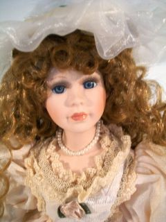 The Emerald Doll Collection Porcelain Doll 16 Tall Red Hair Blue Eyes