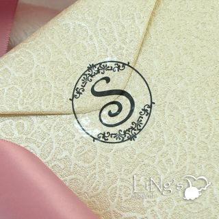 90 Black Monogram Initial Wedding Envelope Seal Sticker