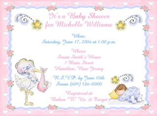 Stork Personalized Baby Shower Invitations w Envelopes