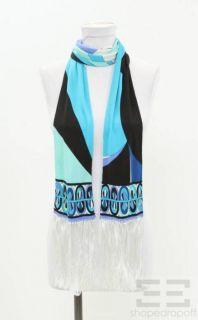 Emilio Pucci Blue Black Silk Printed Skinny Fringe Scarf