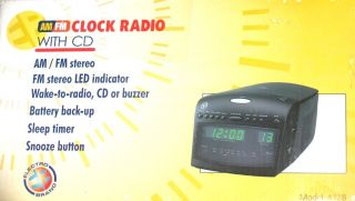 Electro Brand AM/FM Digital Alarm Clock w/Timer, Wake to CD Player