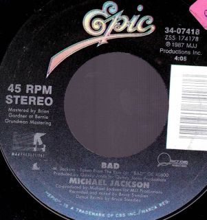 1987 Epic Records 45rpm Michael Jackson Bad I CanT Help It