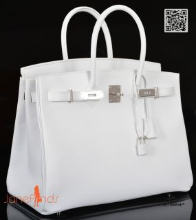 Hot Hermes Birkin Bag 35cm White Epsom Palladium Hardware