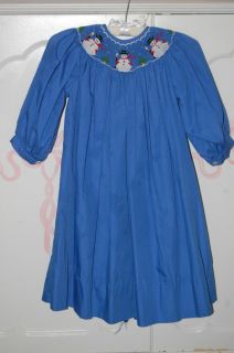 Smocked Maria Elena Christmas Tree Snowman Bishop Dress 4T Blue