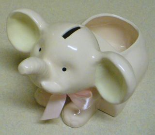 Ceramic Pink Baby Elephant Coin Piggy Bank 6x9 Perfect Condition