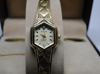 customer new vintage elgin ladies diamond quartz wrist watch nos