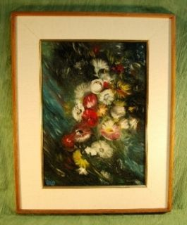 Mid century Modern Oil Painting Floral Abstract Flowers Signed by