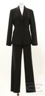 Elie Tahari 2pc Black & Blue Stripe Pant & Jacket Suit Size 12