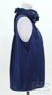 Elijah Blue Cotton Rosette Trim Sleeveless Top Size Large