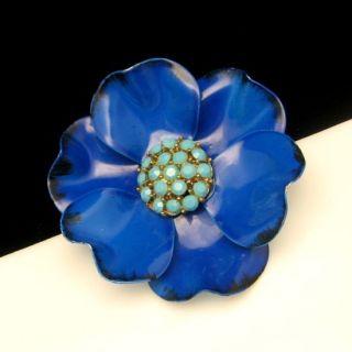 Vtg Large Blue Enamel Aqua Rhinestone Flower Brooch Pin