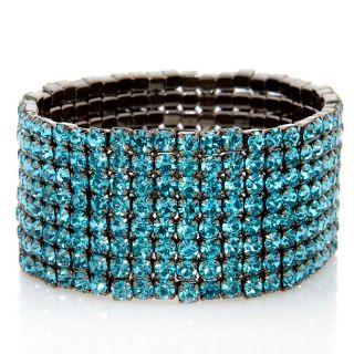 Justine Simmons Crystal Hematite Tone Stretch Bracelet at