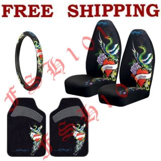 New Set Ed Hardy Red Hearts Peacock Seat Covers Steering Wheel Cover