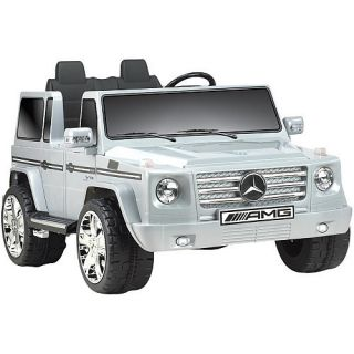 Ride On Toy Truck Vehicle Silver Mercedes Benz G55 Kids Electric Car