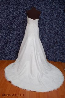Bonny Essence 8801 White Lace Trumpet Beaded Wedding Dress 14 NWOT