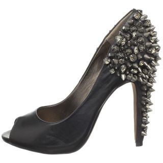 Sam Edelman Lorissa Black Leather Spike Studded Pumps Heels Shoes Peep