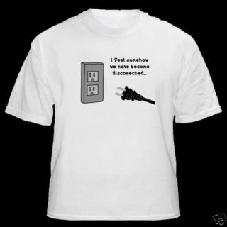 Plug Electrical Outlet Humorous Funny T Shirt Shirt New