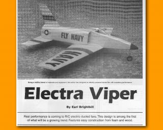 Control Plan ELECTRA VIPER RC Electric Ducted Fan Model Airplane Plans