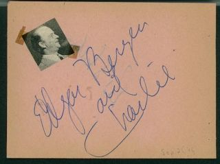 EDGAR BERGEN & CHARLIE VINTAGE SIGNED PAGE FROM AUTOGRAPH BOOK RED