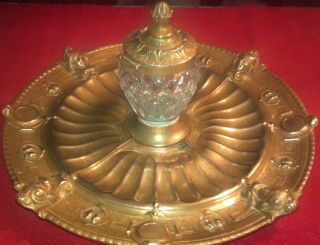 Antique ELKINGTON INKWELL, NEO CLASSICAL Gold Plated Bronze & Crystal