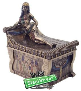 Engraved Ancient Egyptian Resting Queen Cleopatra Jewelry Box