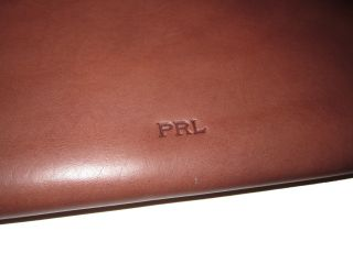 Ralph Lauren Brown Leather Polo Folio Document Case Zip Around