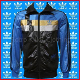 Adidas Originals Chile 62 Blue Black Wet Shiny Gloss TT Tracksuit Top