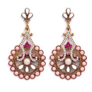 New Women Earrings in Elegant Gold Plated Pink Fresh Pearl Chandelier
