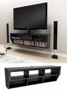 58 Wall Mounted Entertainment Console LCD LED TV Stand w AV Shelves