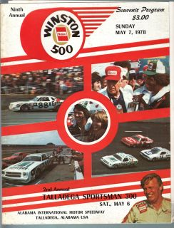 Alabama Speedway Winston 500 PGM 1978 NASCAR Petty Yarborough A J Foyt
